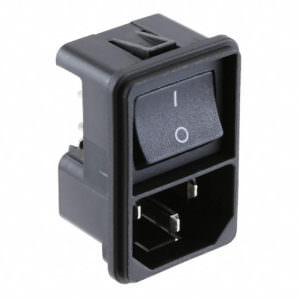 AC Plugs – MOD PWR ENTRY SW SNAP 1.5MM PNL- Vertical Switch